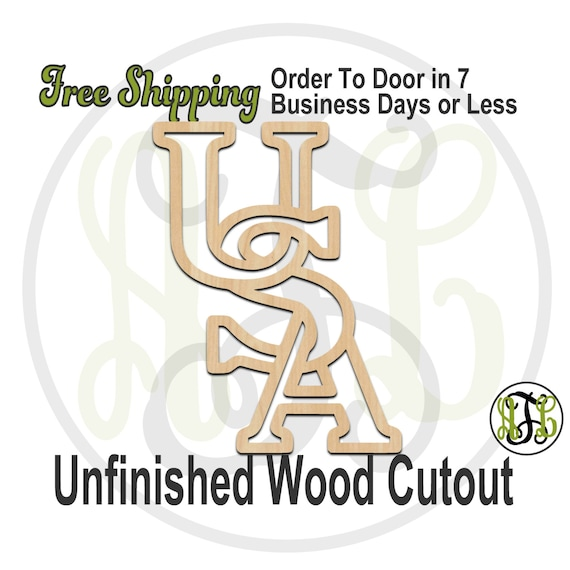 USA Outline - 150003- Holiday Cutout, unfinished, wood cutout, wood craft, laser cut wood, wood cut out, Door Hanger, wooden sign, wall art