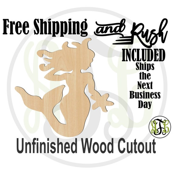 Mermaid - 20006- Cutout, unfinished, wood cutout,  laser cut shape, Door Hanger, wreath accent - RUSH PRODUCTION
