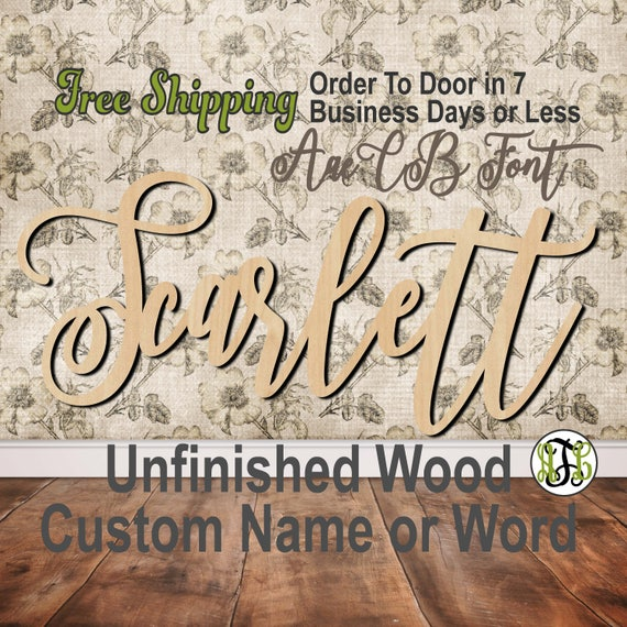 Unfinished Wood Custom Name or Word AaeCB Font, wood cut out, Script, Connected, wood cutout, wooden sign, Nursery, Wedding, Birthday