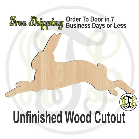 Running Bunny- 140014- Easter Cutout, unfinished, wood cutout, wood craft, laser cut shape, wood cut out, Door Hanger, Rabbit, wooden