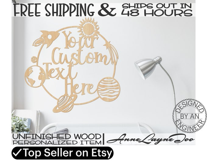 Custom Space Frame Wood Cutout Sign, Event Cut Out, Wooden Birthday Sign, unfinished, wood cut out, laser cut, Ships in 48 HOURS -990060