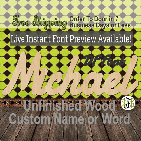 Custom Wood Name Sign, DF Font, Cursive, Connected, wood cut out, wood cutout, wooden sign, Nursery, Wedding, Birthday, word sign, Script