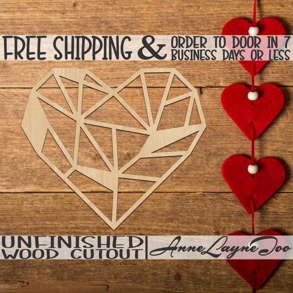 Geometric Heart Wood Cutout, Valentine Wooden Cut out, Heart Wooden Door Hanger, wooden, unfinished, wood cut out, laser cut -480006