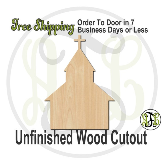 Church - 290027- Religious Cutout, unfinished, wood cutout, wood craft, laser cut shape, wood cut out, Door Hanger, wooden, ready to paint