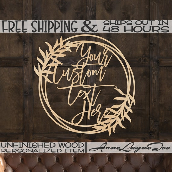 Custom Leafy Vine Tri Circle Frame Wood Sign, Event Cutout, Wedding Sign, unfinished, wood cut out, laser cut, Ships in 48 HOURS -990065