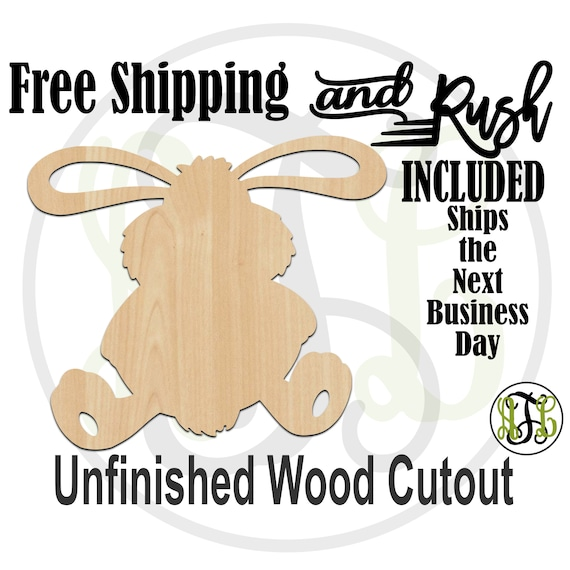 Stuffed Bunny - 140019- Easter Cutout, unfinished, wood cutout, laser cut wood, Door Hanger, wreath accent - RUSH PRODUCTION