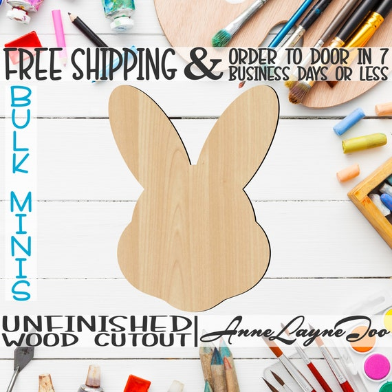 """Easter Bunny Head- 2"""" to 6"""" Minis, Small Wood Cutout, unfinished, wood cutout, wood craft, laser cut, wood cut out, ornament -14004"""