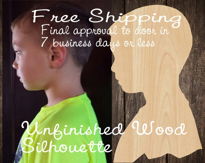 Unfinished Wood Silhouette, Free Shipping, Child Heirloom Silhouette, laser cut shape wood, wooden profile, DIY
