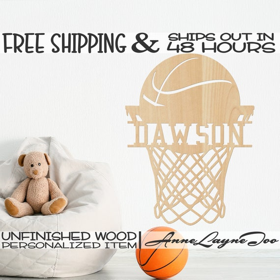 Basketball and Net Name Plate Wood Cutout, Basketball Wall Art, Sport Sign, unfinished, wood cut out, laser cut, Ships in 48 HOURS -990078