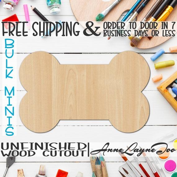 "Dog Bone, 2"" to 6"" Minis, Small Wood Cutout, unfinished, wood cutout, wood craft, laser cut shape, wood cut out, ornament -300007"