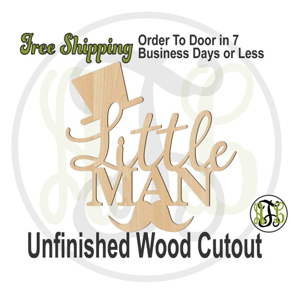 Little Man w Hat and Mustache -321020- Door Hanger Cutout, unfinished, wood cutout, laser cut out, wood cut out, wooden sign, Baby Shower