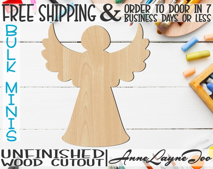 "Christmas Tree Angel- 2"" to 6"" Minis, Small Wood Cutout, unfinished, wood cutout, wood craft, laser cut, wood cut -180035"