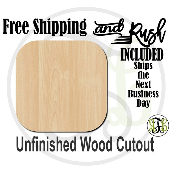 Plaque Square Rounded - 40017- Cutout, unfinished, wood cutout,  laser cut shape, DIY, Free Shipping - RUSH PRODUCTION