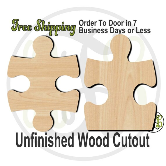 "Puzzle Piece Style 1 or 2 - 2"" to 6"" Minis- 40045S1-S2- Small Wood Cutout, unfinished, wood cutout, wood craft, laser cut, wood cut out"