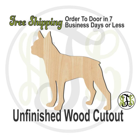 Boston Terrier - 230073- Animal Cutout, unfinished, wood cutout, wood craft, laser cut shape, wood cut out, Door Hanger, Dog, wooden, blank