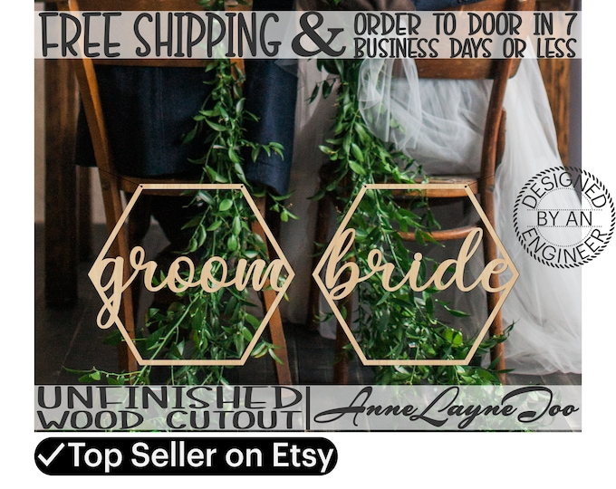 Pair of Honeycomb Bride and Groom Signs, Wedding Cutouts, Wooden Chair Hanger Signs, unfinished, wood cut outs, laser cut -321006-321007