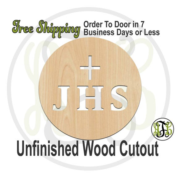 "JHS with Cross- 2"" to 6"" Minis- 290045- Small Wood Cutout, unfinished, wood cutout, wood craft, laser cut, wood cut out, ornament"