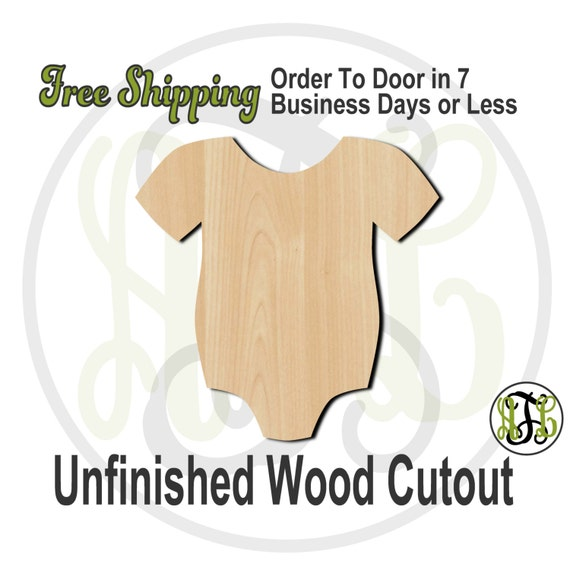 "Infant Body Suit - 1"" to 6"" Minis- 30003- Small Wood Cutout, unfinished, wood cutout, wood craft, laser cut, wood cut out, ornament"