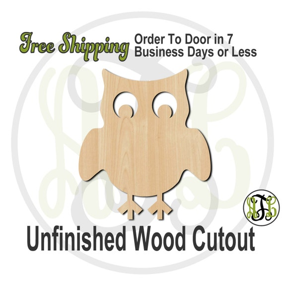 Owl 4 - 230010- Bird Cutout, unfinished, wood cutout, wood craft, laser cut shape, wood cut out, Door Hanger, wooden, blank