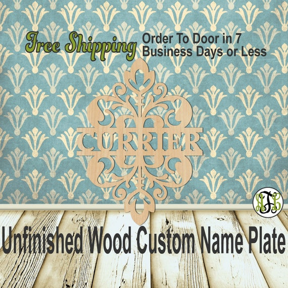 Floral Damask Name Plate- 420005NP- Personalized Cutout, unfinished, wood cutout, wood, laser cut wood out, Wedding, Family, wooden sign
