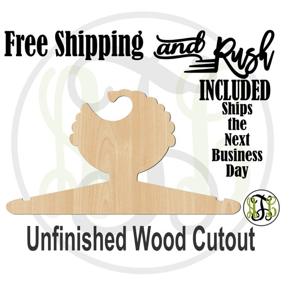 Boy Curly Closet Hanger - Adult or Child Size Cutout, unfinished, wood cutout,  laser wood cutout, DIY, Free Shipping - RUSH PRODUCTION