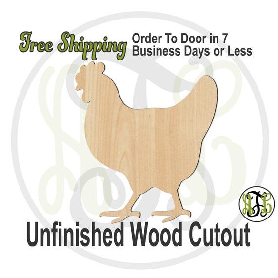Hen - 230119- Farm Animal Cutout, unfinished, wood cutout, wood craft, laser cut shape, wood cut out, Door Hanger, wooden, blank, bird