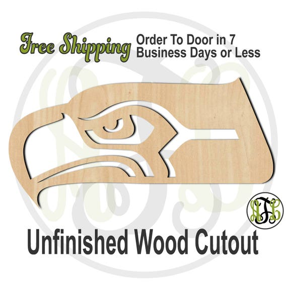 Seahawk Head Outline Mascot - 60632- School Spirit Cutout, unfinished, wood cutout, laser cut shape, wood cut out, Free Ship, wooden