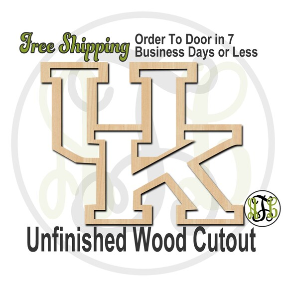 Interlocking Outline U and K - 60121- School Spirit Cutout, unfinished, wood cutout, wood craft, laser cut, wood cut out, Free Ship, wooden