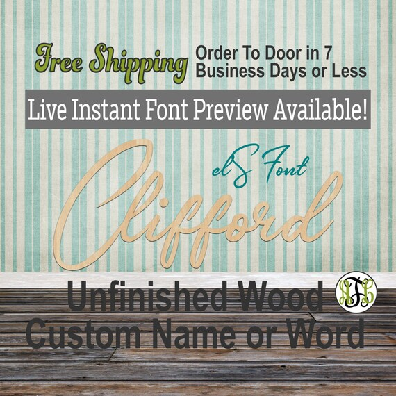 Custom Wood Name Sign, elS Font, Cursive, Connected, wood cut out, wood cutout, wooden sign, Nursery, Wedding, Birthday, word sign