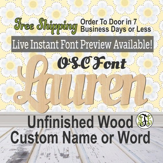Custom Wood Name Sign, OSC Font, Cursive, Connected, wood cut out, wood cutout, wooden sign, Nursery, Wedding, Birthday, word sign