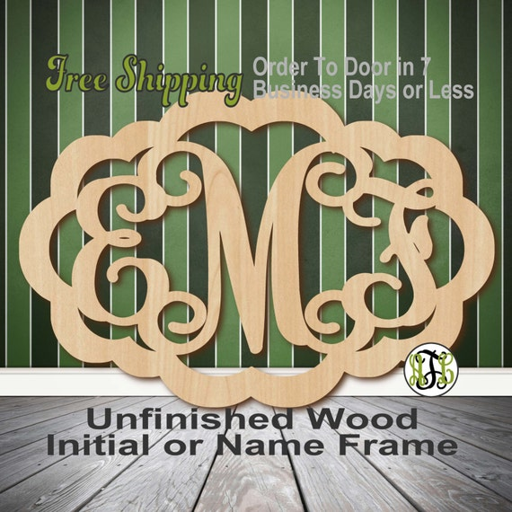 Unfinished Wood Madison Frame Monogram, Name, Word, Custom, laser cut wood, wooden cut out, Wedding, Personalized, DIY
