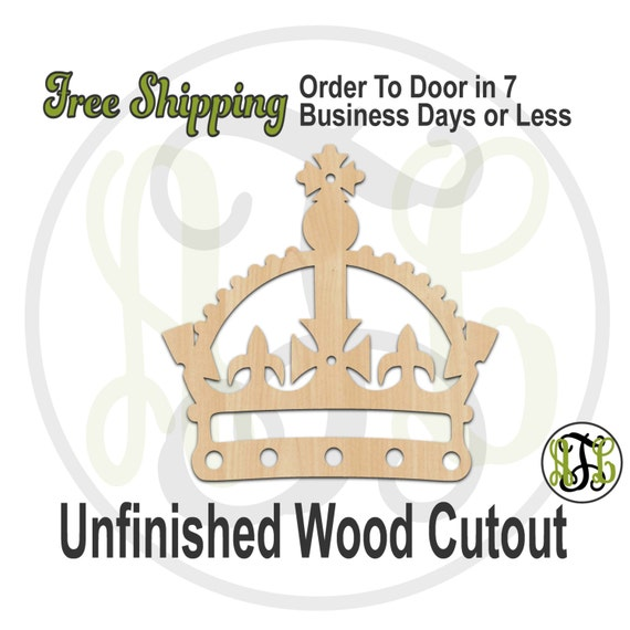 Crown 6 - 24406- Cutout, unfinished, wood cutout, wood craft, laser cut shape, wood cut out, Door Hanger, wooden, ready to paint