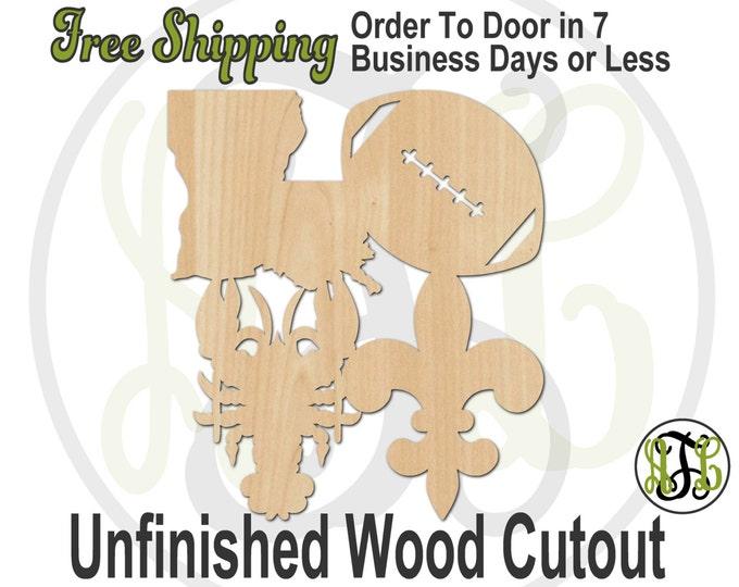 Louisiana Love- 60143- Cutout, unfinished, wood cutout, wood craft, laser cut shape, wood cut out, Door Hanger, wooden, wall art