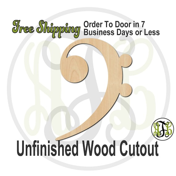 Bass Clef - 300118- Cutout, unfinished, wood cutout, wood craft, laser cut wood, wood cut out, Door Hanger, wooden sign, wall art