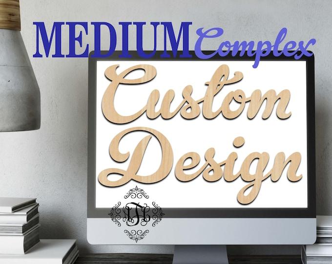 Custom Design Wood Art MEDIUM Complex, 4 Features, Wedding, Nursery, College, Personalized, Sign, Birthday, laser cut shape, wood cut out