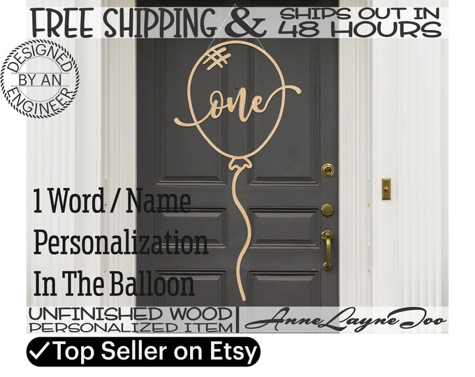 Custom Birthday Balloon Sign Cutout, Birthday Door Hanger, Wooden Party Decor, unfinished, wood cut out, laser cut, Ships in 48 HOURS -80017