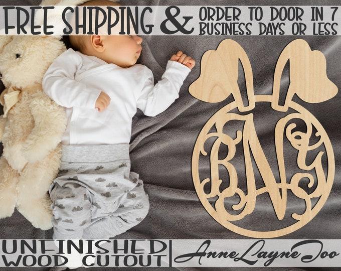 Bunny Ears Monogram Wood Sign, Easter Monogram, Bunny Door Hanger, Easter wooden sign, unfinished, wood cut out, laser cut -140008M3