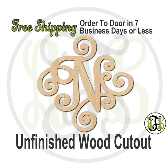 Elegant Scroll Initials- 410004 A-Z - Monogram Cutout, unfinished, wood cutout, wood craft, laser cut, wood cut out, wooden, Door Hanger