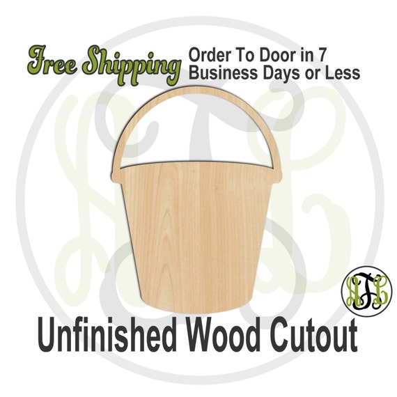 Bucket - 300097- Pail Cutout, unfinished, wood cutout, wood craft, laser cut shape, wood cut out, Door Hanger, wooden, ready to paint