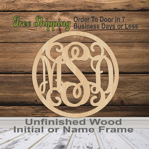 3 Letter Monogram in Thin Circle Frame- Personalized Cutout, 3-Letter Monogram , unfinished, wood cutout, laser cut, wood cut out, wooden