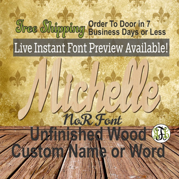Custom Wood Name Sign, NoR Font, Cursive, Connected, wood cut out, wood cutout, wooden sign, Nursery, Wedding, Birthday, word sign