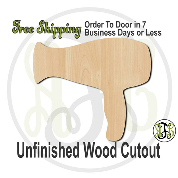 Hair Dryer Wood Cutout, wood cut out, Hair Dryer Door Hanger, Wooden Blow Dryer Sign, wooden, laser cut, unfinished wood cutout - 300055