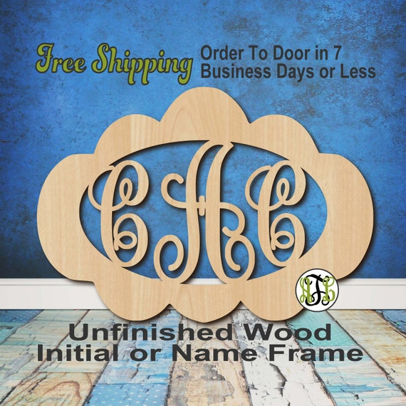 Unfinished Wood Cindy Frame Monogram, Name, Word, Custom, laser cut wood, wooden cut out, Nursery, Personalized, DIY