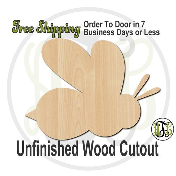 "Bee Mascot - 2"" to 6"" Minis- No. 60501- Small Wood Cutout, unfinished, wood cutout, wood craft, laser cut, wood cut out, ornament"