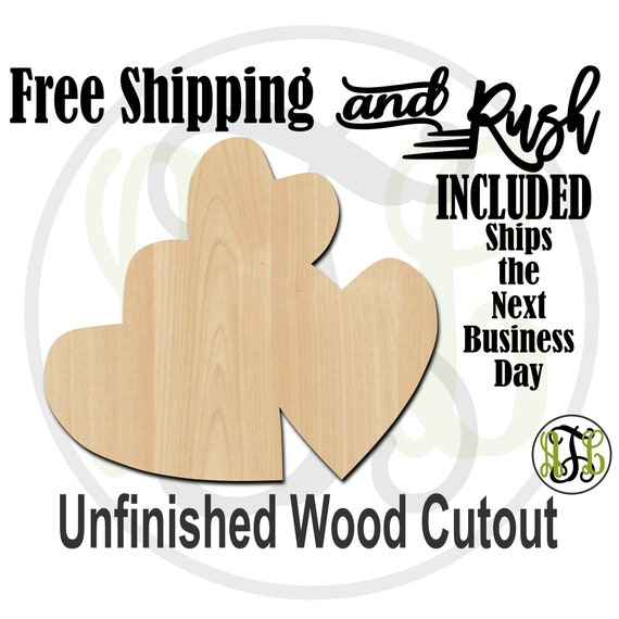 3 Hearts Scattered 1 - 110011- Valentine Cutout, unfinished, wood cutout,  laser wood cutout, Door Hanger - RUSH PRODUCTION