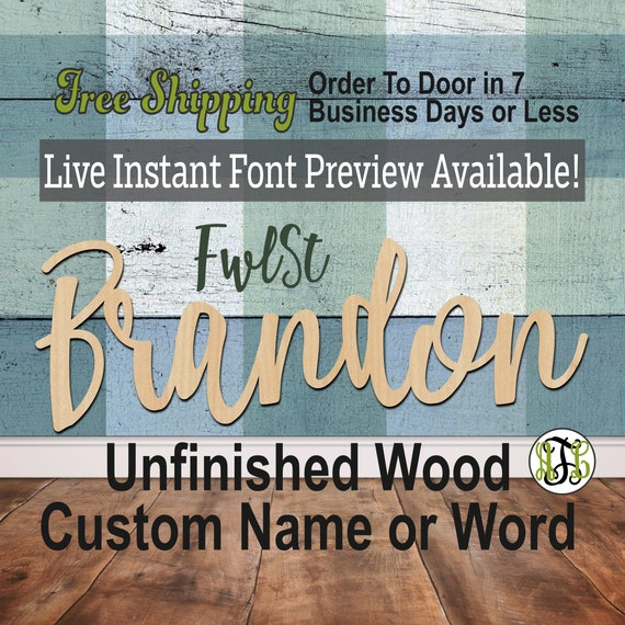 Custom Wood Name Sign, Font, Cursive, Connected, wood cut out, wood cutout, wooden sign, Nursery, Wedding, Birthday, word sign, Script