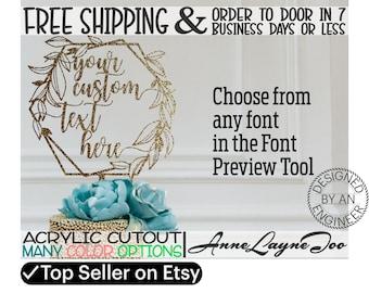 "Leafy Honeycomb Flower or Cake Topper, Custom Cake Topper, Wedding Topper, Anniversary, Flower Topper, 1/8"" Acrylic, laser cut -990071"