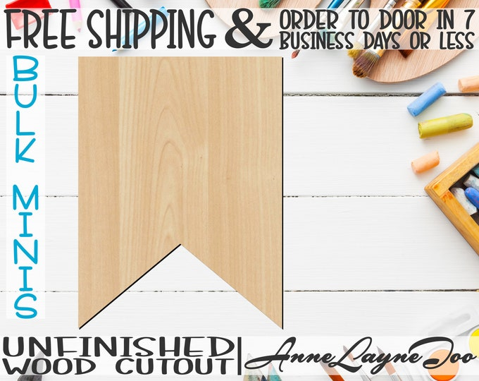 """Plaque Flag Banner- 2"""" to 6"""" Minis, Small Wood Cutout, unfinished, wood cutout, wood craft, laser cut, wood cut out, ornament -40034"""