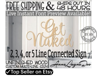 Custom Wood Sign Multi-Line, Event Wood Cutout, unfinished, laser cut, boy, girl, wood cut out, Birthday, Anniversary, Wedding, 48 HOURS