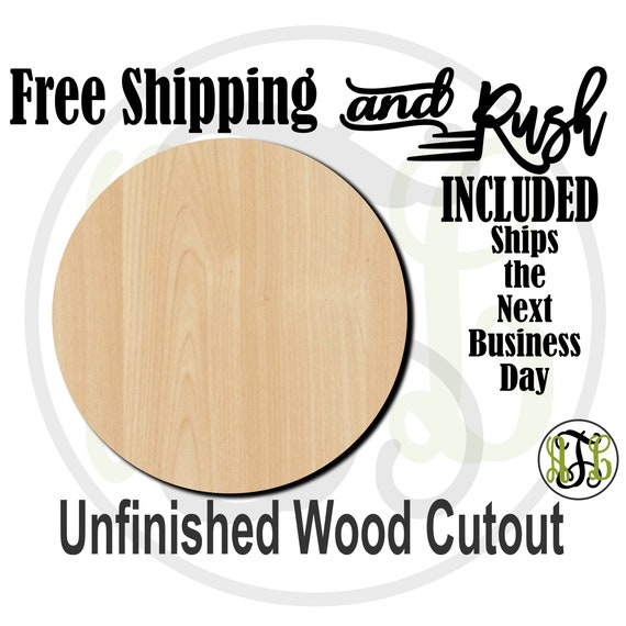 Plaque Circle - 40015- Cutout, unfinished, wood cutout,  laser cut shape, Ball, DIY, Free Shipping - RUSH PRODUCTION